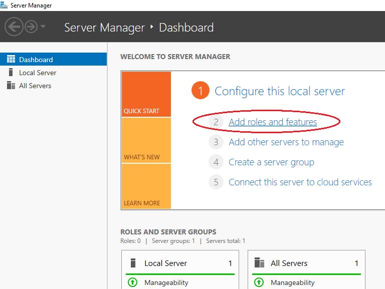 "Mở ""Windows Server Control Panel"""